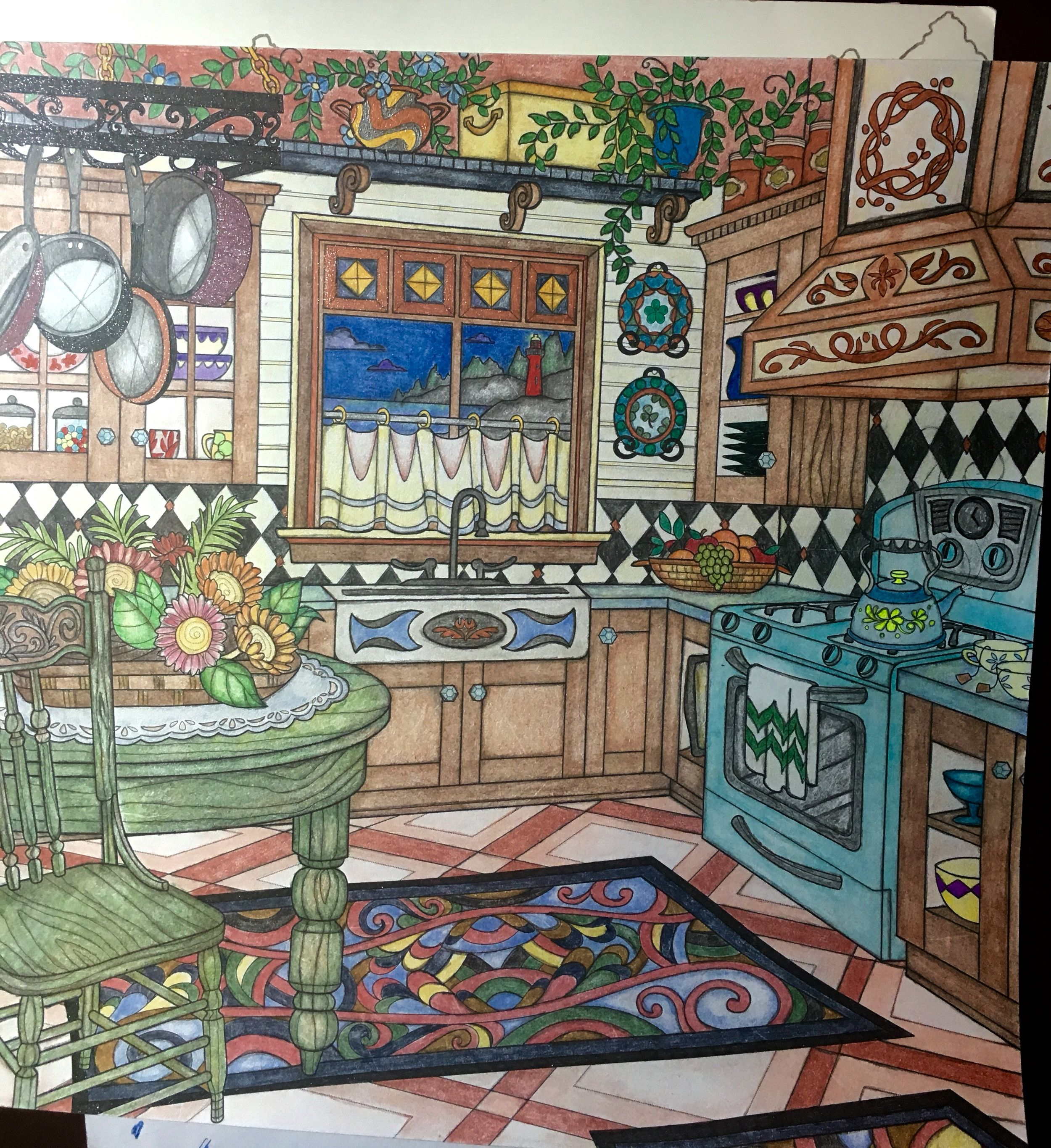 Romantic Country Colored Pencils Gel Pens Adult Colouring