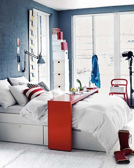 Consola Malm Ikea En Rojo Con Paredes Azules  Casa  Pinterest Beauteous Ikea Design Your Own Bedroom Design Ideas
