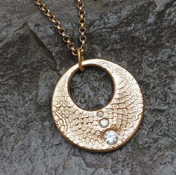 Elegant circle and CZ necklace in gold bronze by KathrynDesignsArt, $65.00