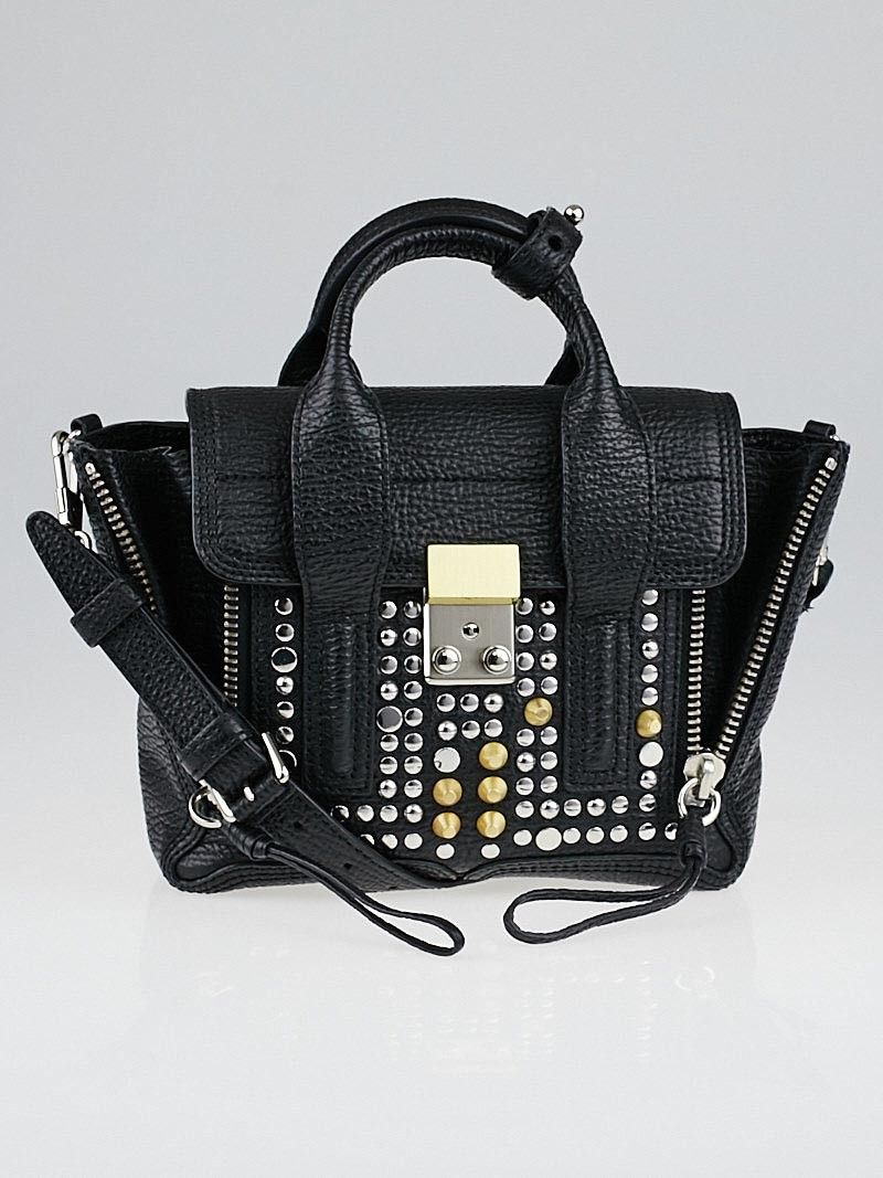 3.1 Phillip Lim Black Studded Leather Mini Pashli Bag - Yoogi s Closet bb837d1e8aa76