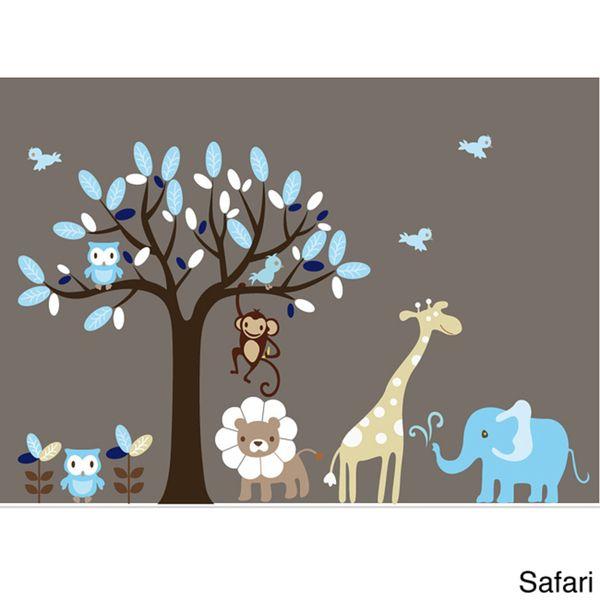 Nursery Wall Art Boy S Safari Animal Tree Decal Set Ping