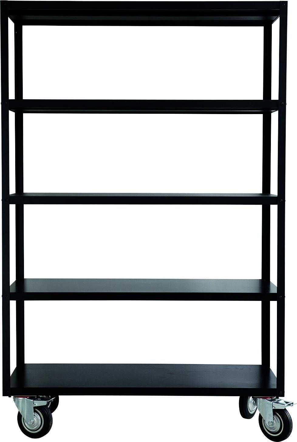 Zwarte Stellingkast Metaal.Stellingkast Trolley 5 Planken Verrijdbaar Zwart House