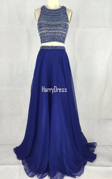 Royal Blue A Line Scoop Neck Chiffon Floor Length Beading Two Piece Open  Back Prom Dress
