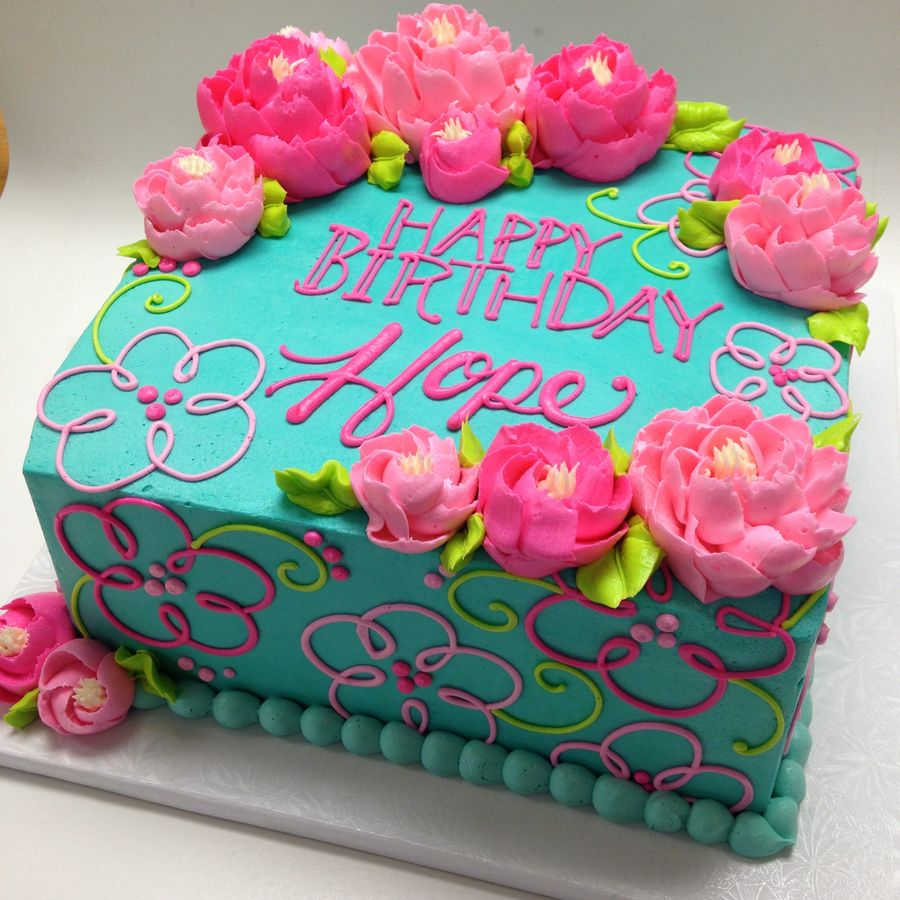 Bright Colors In Buttercream With Images Square Birthday Cake
