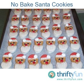 Here's a cute no bake Santa cookie to whip up on an hour's notice. Use Nutter Butter cookies from your local supermarket. Just dip top in (head end) melted white chocolate and sprinkle with red colored sugar.