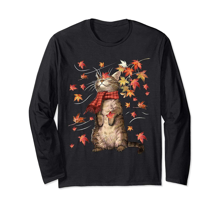 Funny Cat Leaf Fall Hello Autumn Funny Cat Kitten Lover Gift Long Sleeve T-Shirt #helloautumn