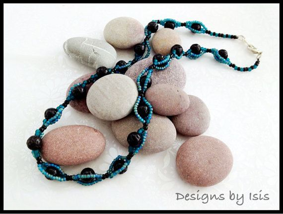 Teal & black beadwork necklace   by DesignsbyIsisUK on Etsy, £10.00