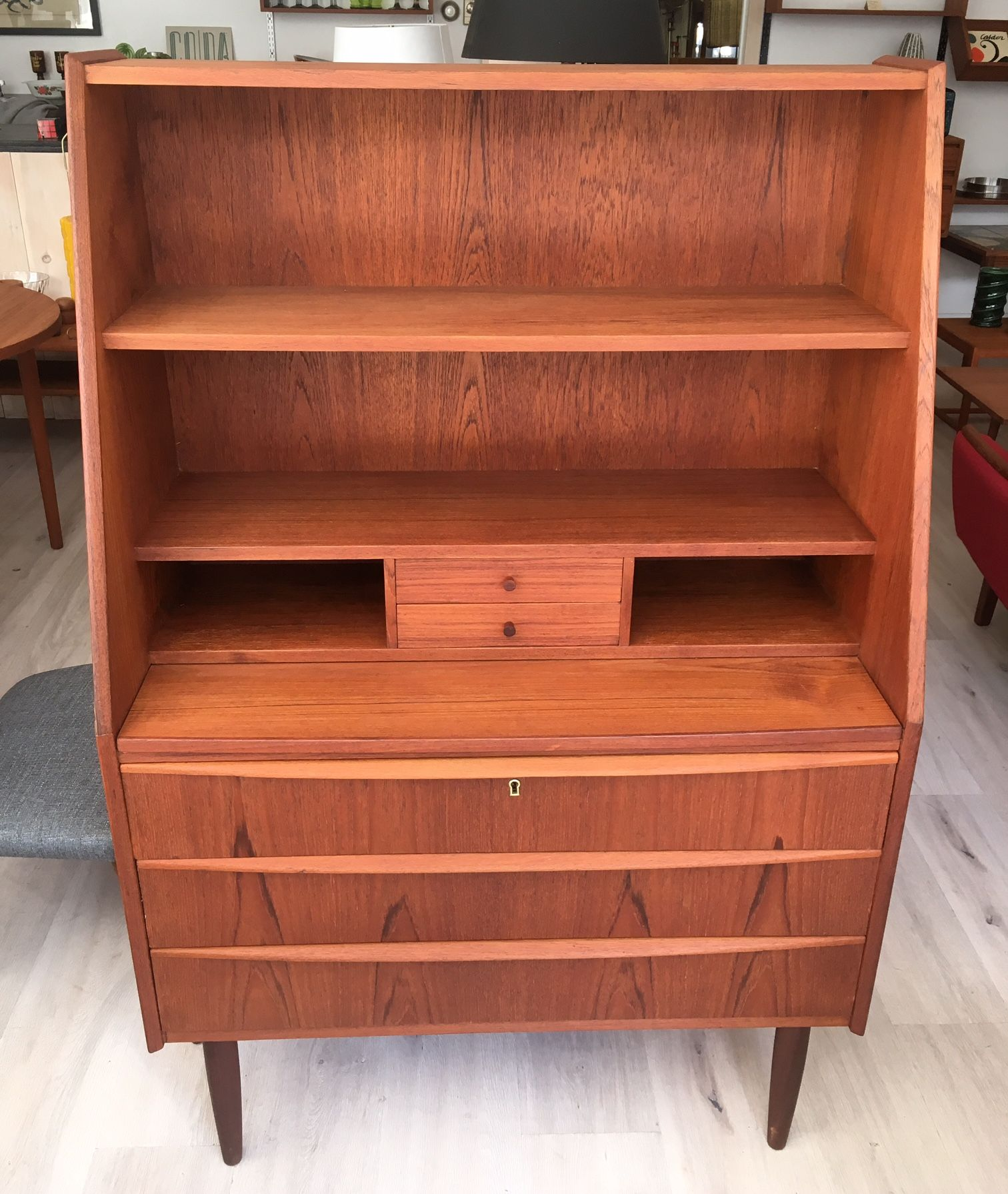Secretaire En Teck Scandinave Tablette Style Bureau Amovible Restaure 35 5 X 17 X 53 75 H Bookcase Decor Furniture