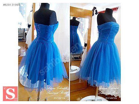 4368fb9446067 Prenses Mini Mavi Tül Diz Üstü Elbise Adana Gelinlik SuzannaModa - Özel  Dikim Elbise Modelleri sahibinden