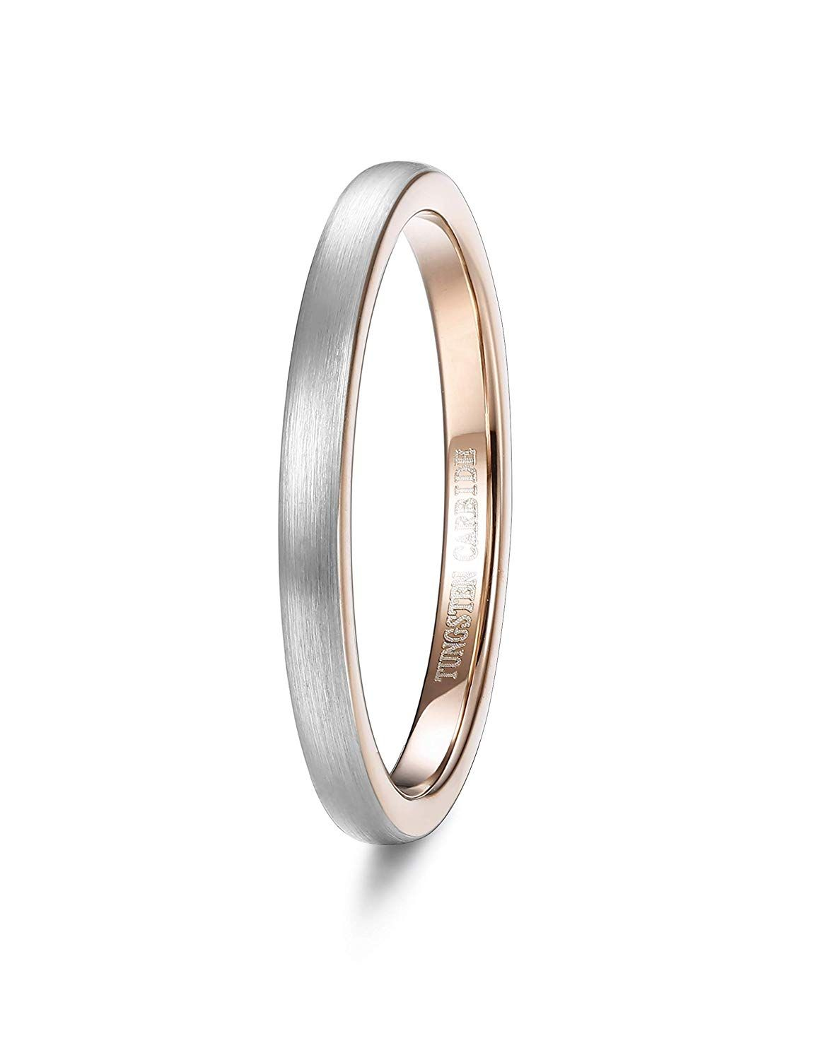 49e0caa1a63be Tungary 2mm Tungsten Wedding Ring for Women Rose Gold Plated Domed ...