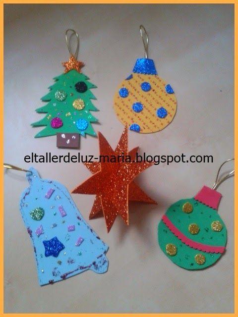 El taller de luz maria decoraciones de navidad para ni os - Decoracion navidad goma eva ...