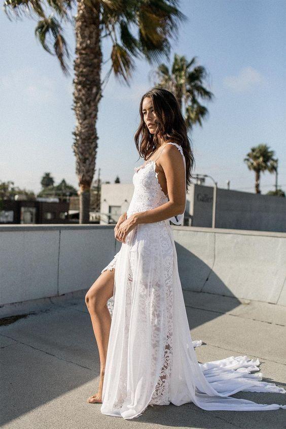52e88aa411b3 A-line Spaghetti Strap White Lace Chiffon Beach Wedding Bridal Dresses -  SheerGirl Plus Size