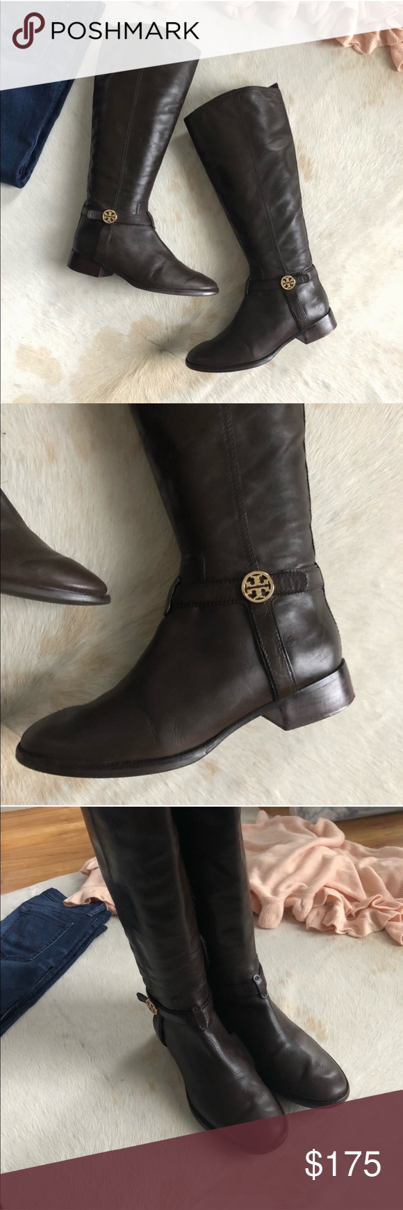 02a7ccbc594f Tory Burch Brown Bristol Riding Boot with Logo Great riding boots by Tory  Burch. Few signs of wear as shown in pics but overall great condition!