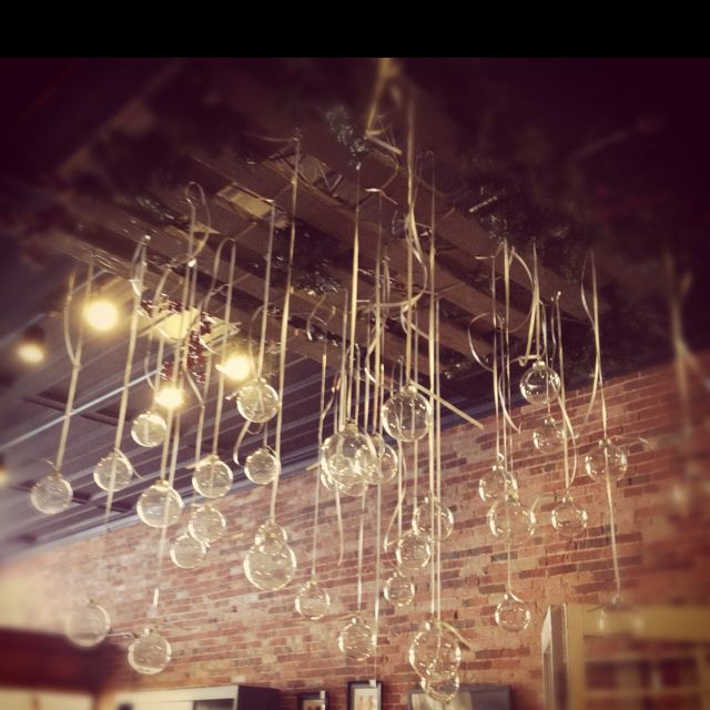 Beautiful Idea Clear Christmas Bulbs Hanging From An Old Pallet