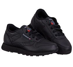 Reebok Preschool/Little Kid Classic Leather-Black/Gray Trim. This is a