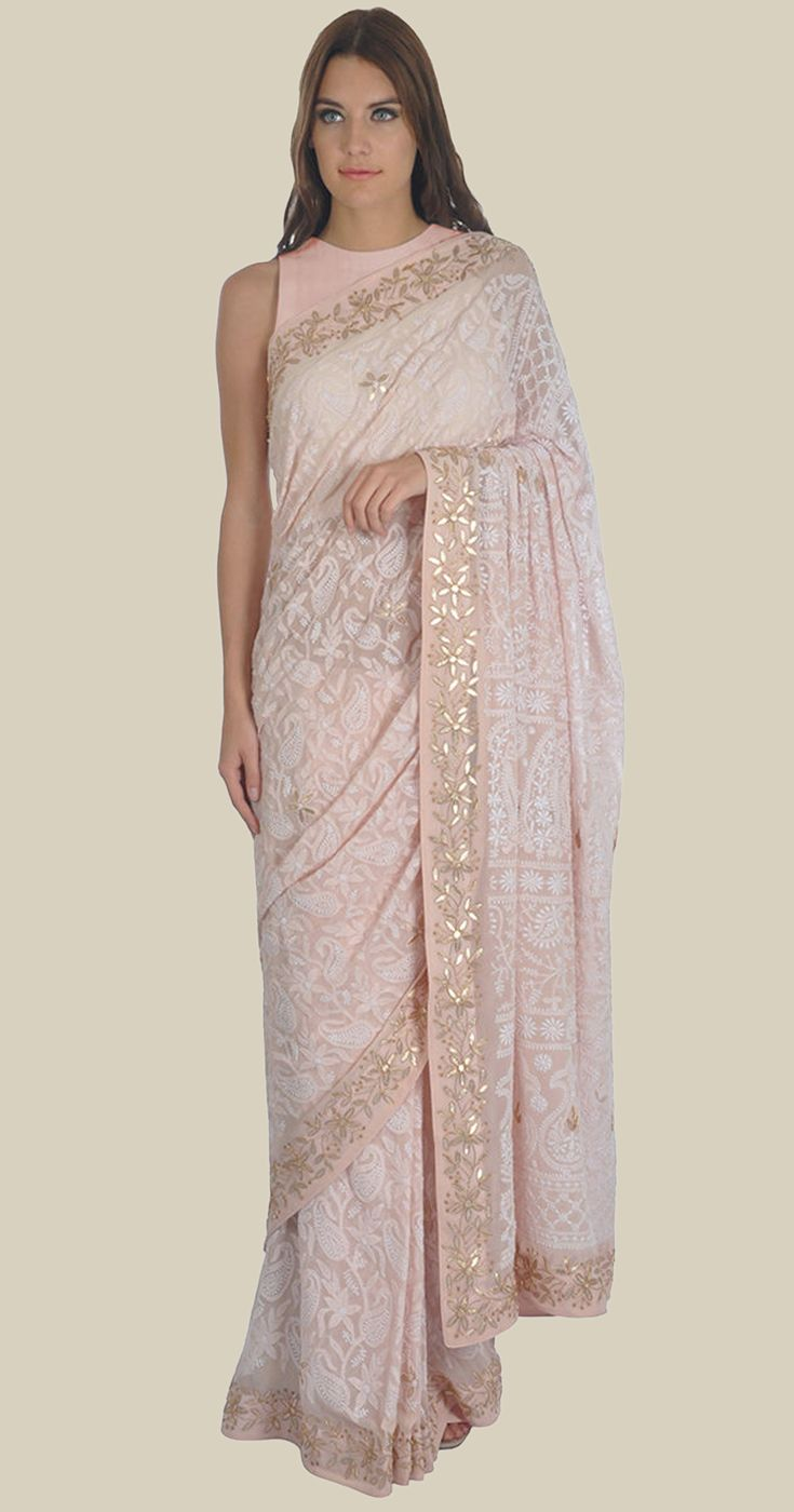 7b86ce9f7b Nude Pink Intricate Chikankari And Gota Patti Pure Georgette Saree ...