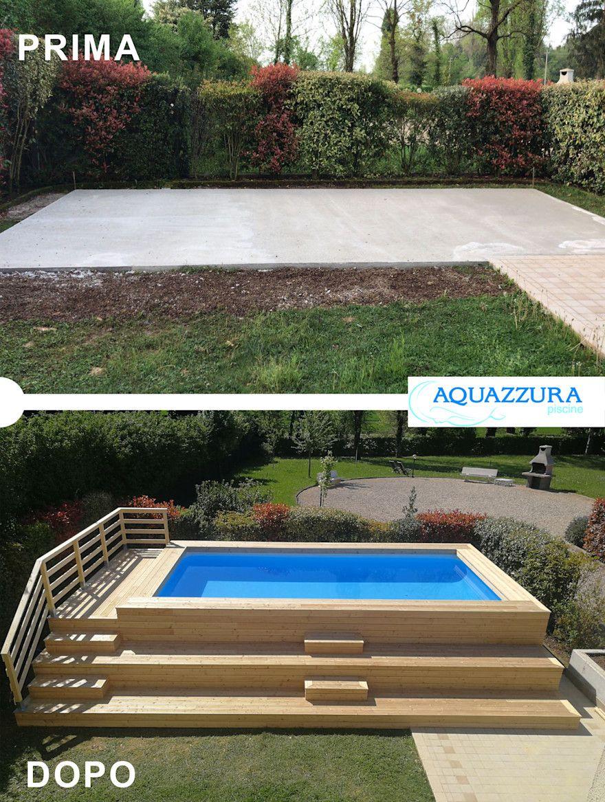 Photo of La piscina fuori terra rivestita in legno o wpc  arreda il tuo giardino ed è un divertimento estivo per tutta la famiglia . | homify