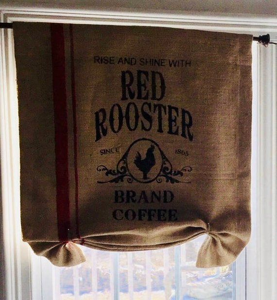 Rustic Rooster Burlap Curtain Valance