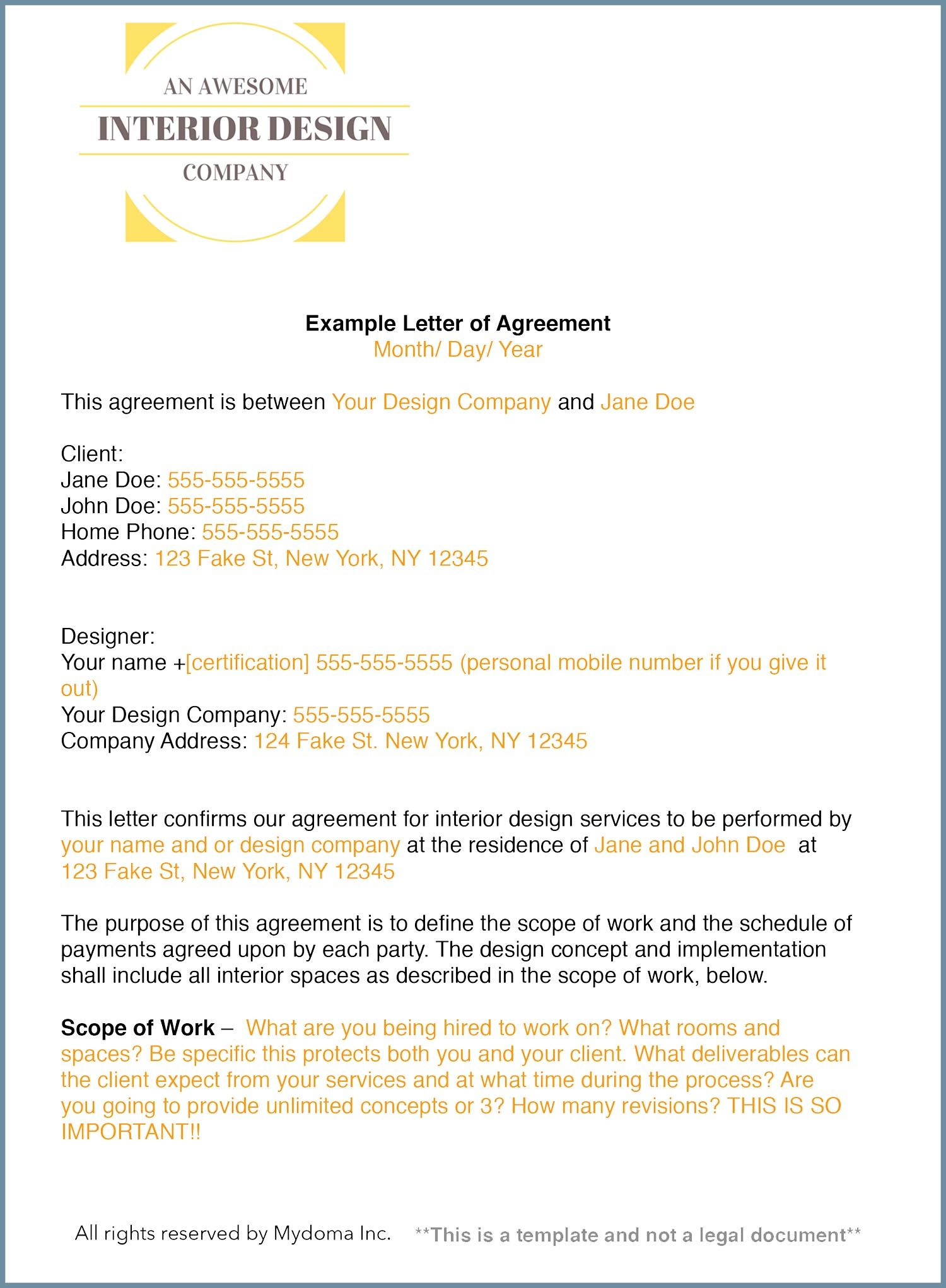 Interior Design Contract Template Letter Of Agreement Career Resources Companies Designing