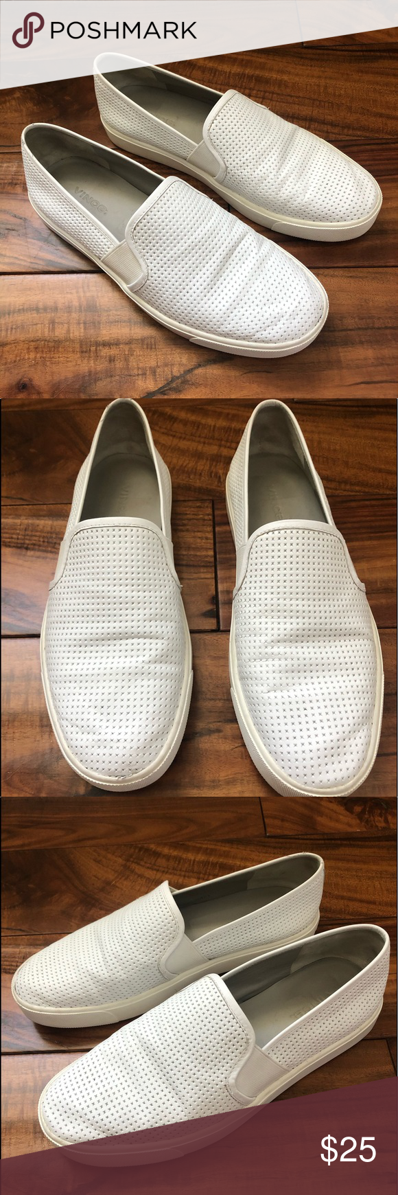 Vince Blair White Slip-Ons, Size 7.5 in