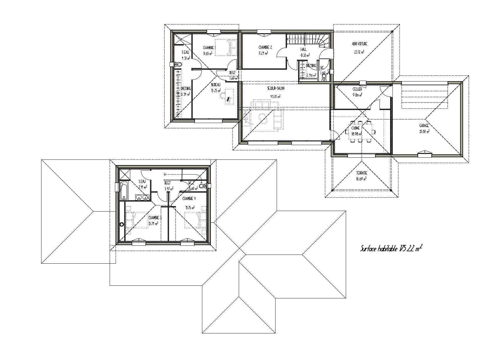 Plan dune belle maison contemporaine à étage projet
