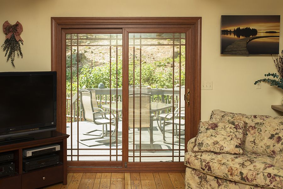 Alside Promenade 6400 Series featuring foxwood interior laminate color and double-prairie grids and & Alside Promenade 6400 Series featuring foxwood interior laminate ...