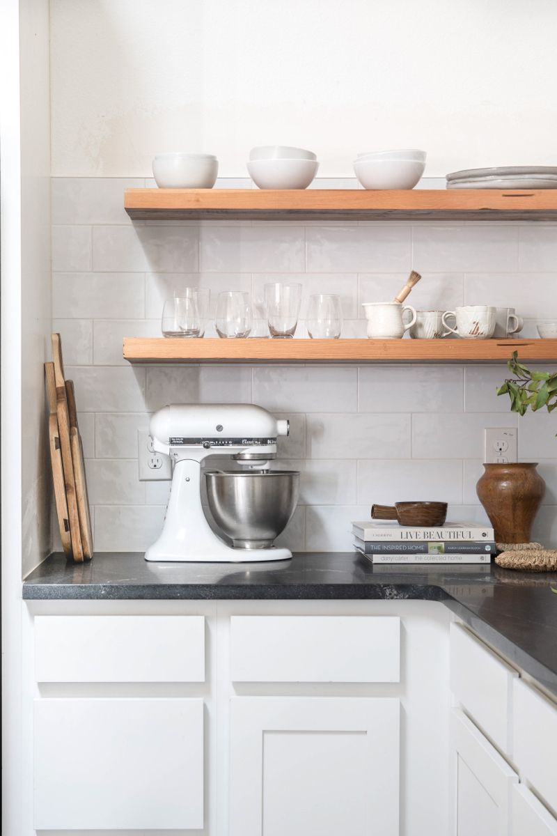 Is Opening Shelving The Right Fit For Your Kitchen Pure Collected Living In 2020 Mexican Style Kitchens Open Shelving New Kitchen