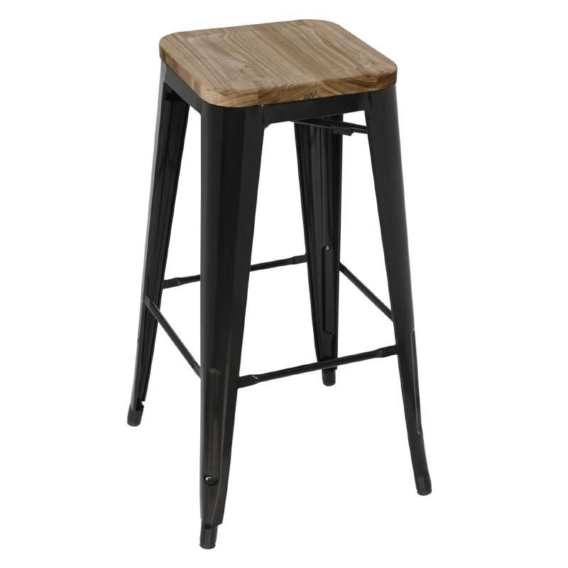 Bolero Black Steel Bistro High Stools with Wooden Seatpad (Pack of 4)