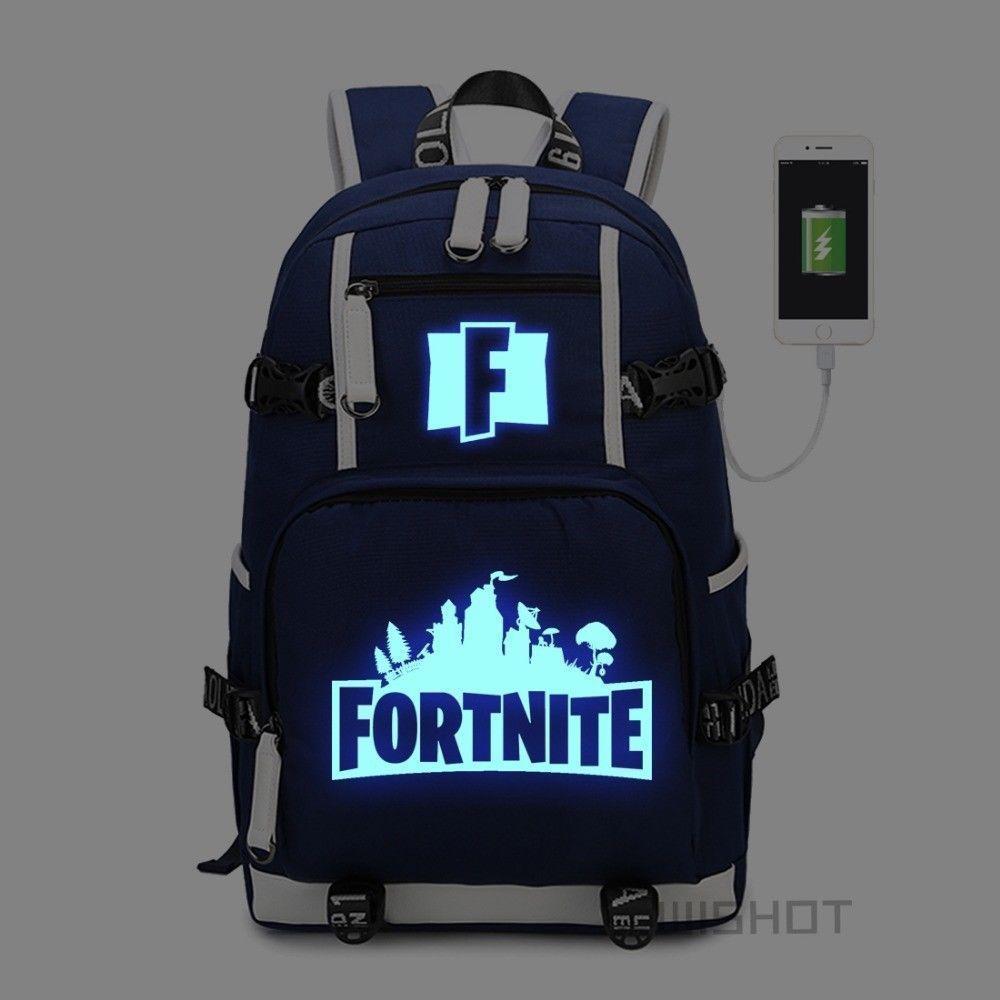3e670bbdcc Game  Fortnite  BattleRoyale Backpack Shoulder travel School Bag USB  Luminous Bag