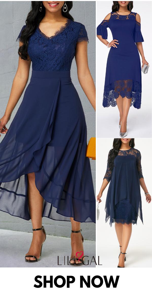 Modest Spring Summer Dresses For Women 2019 Blue Lace Maxi Dress Blue Chiffon Dresses Classy Dress