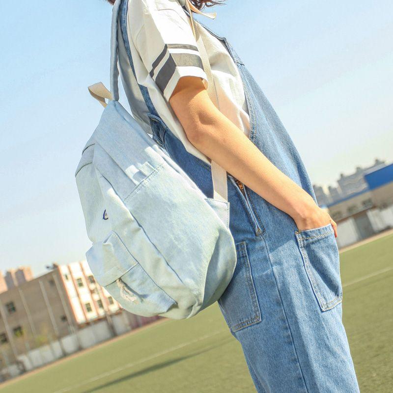 New 2016 Fashion Women Denim Backpack Vintage Canvas Travel College Teenage Girl Bag Classical Jean Lady School Student Rucksack