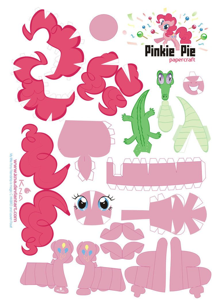 Printable My Little Pony Papercraft Pinkie Pie Cute Useful