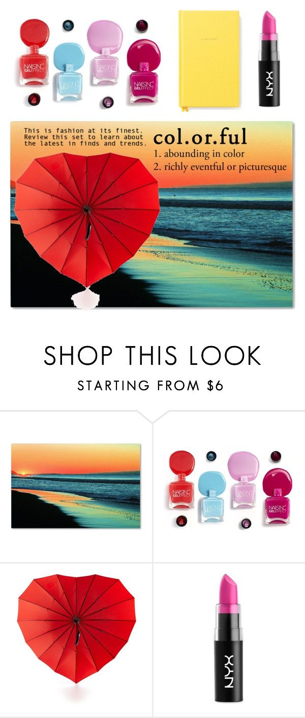 """Colourful!"" by freakout3 ❤ liked on Polyvore featuring Trademark Fine Art, Celebrate Shop, NYX and Kate Spade"