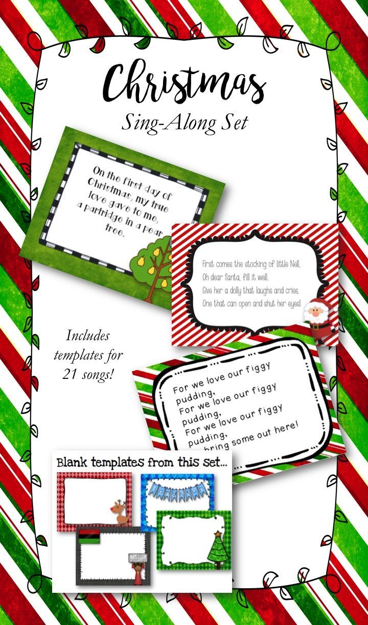 christmas sing along set customizable a well wells and christmas christmas singalong set includes templates for 21 songs as well as templates to add