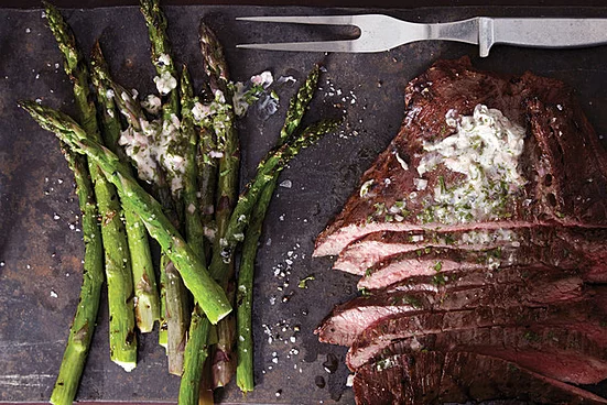 Grilled Flank Steak and Asparagus with Chimichurri Butter #recipesforflanksteak