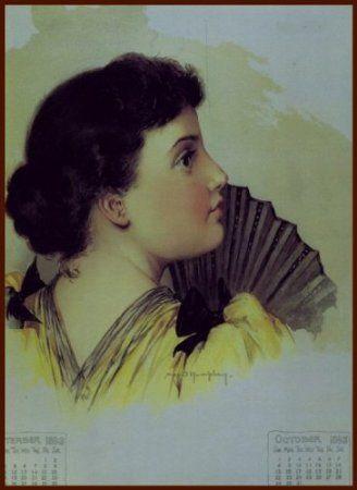 Amazon.com: Portrait of woman Calendar by Maud Humphrey Art Print (1893 / 1993) , Size: 8.1/2 X 11 Inches: Home & Kitchen