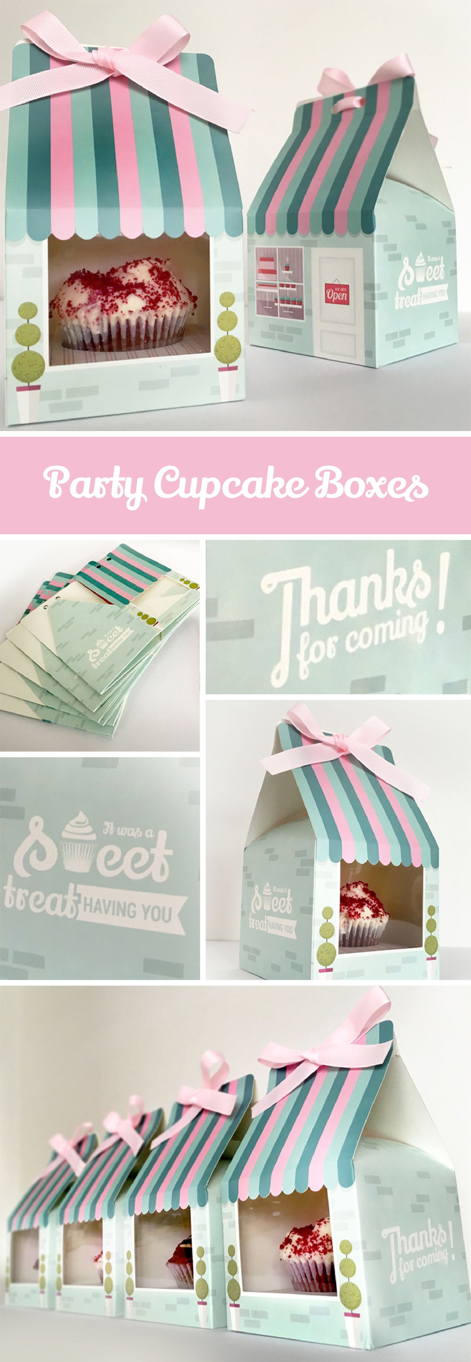 Cupcake party favour boxes. These turquoise and pink cupcake boxes ...