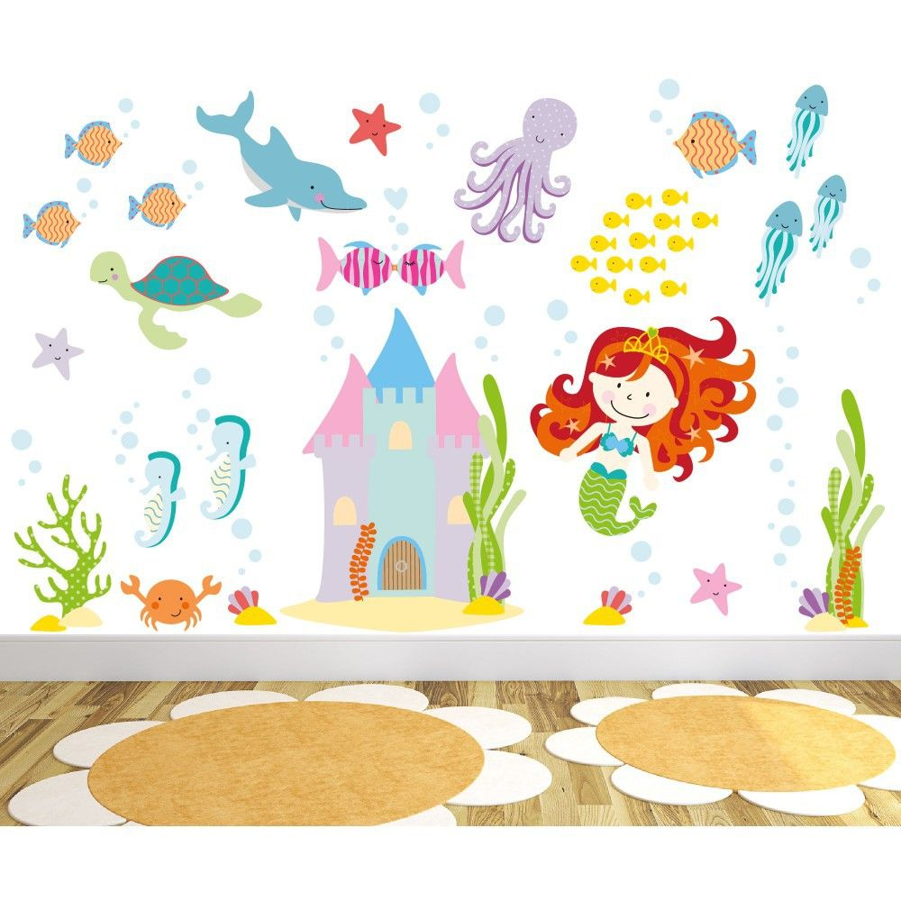 http://www.ruggabub.com.au/nursery/magical-mermaid-large/ Captivate your child's imagination with our exclusive luxury self adhesive fabric wall art designs
