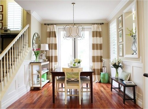 Love This Dining Room Especially The Striped Curtains And Botanical Fruit Prints
