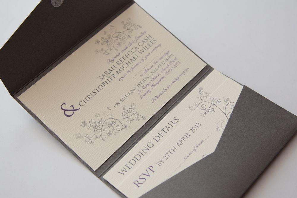 Swirls Silver Grey & Purple Pocketfold Wedding Invitation with ...