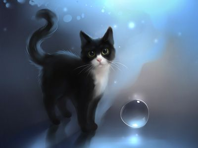 Painting Art Cat Wallpapers Free Computer Desktop Wallpapers Cute Cat Illustration Cat Art Cat Wallpaper