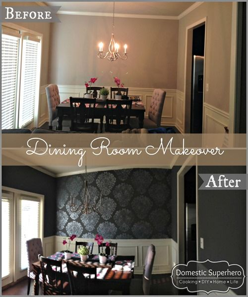 Dining Room Makeover with Grand Damask Stencil Hallway ideas - papel tapiz para comedor