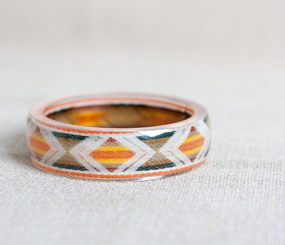 Vintage greenyellowbrown geometric bangle bracelet