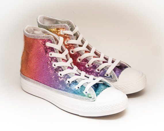 f72fedc2597f Sequin Custom Rainbow Multi Colors on All White Canvas Converse Hi Top Sneakers  Shoes