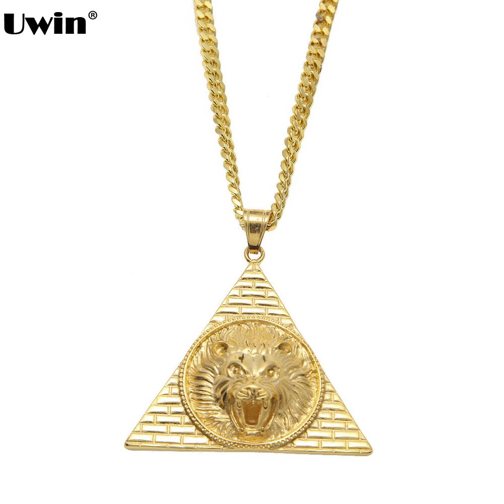Gold color lion head stainless steel necklace men egyptian pyramids