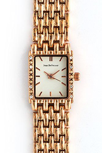Jean Bellecour Vintage Rose Gold White Dial Waterproof Shock Resistant japanesequartz *** Want additional info? Click on the image.