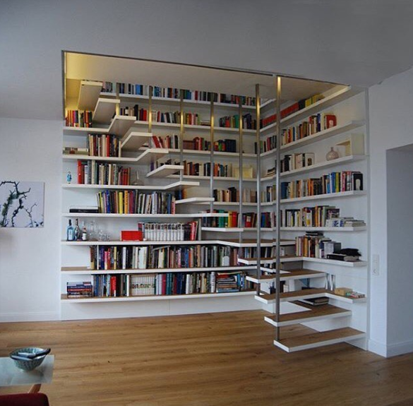 Crazy Stairs With Feng Shui Bookshelves Interior Design Living