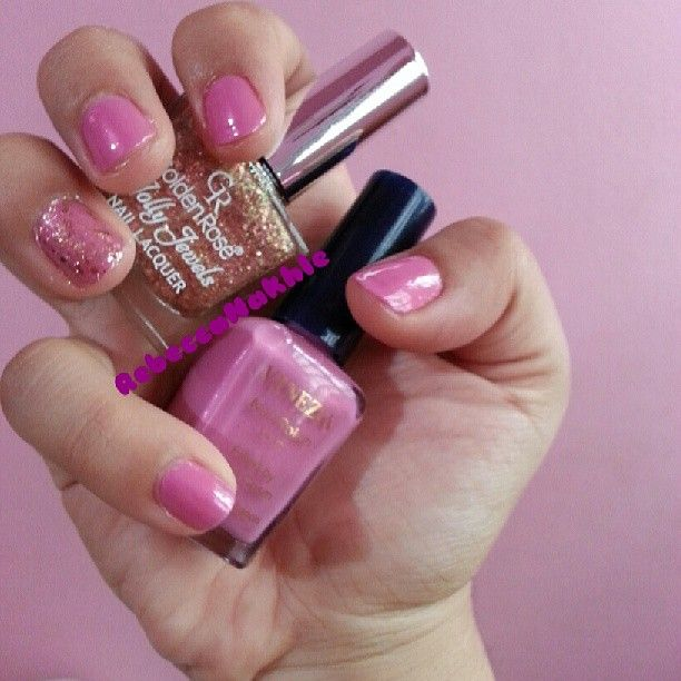Pink nails using Vanezia#33 & Golden Rose-Jolly Jewels #103