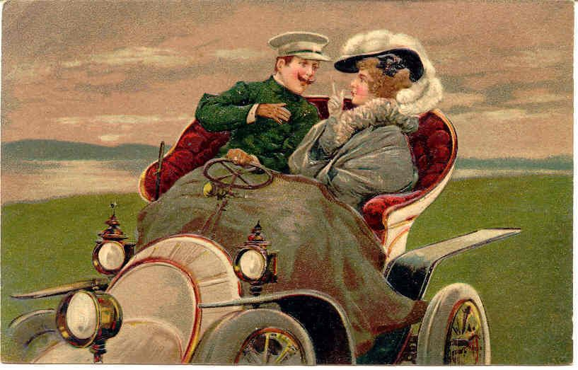 """"""" On The Road To Love """" Karodens Vintage Post Cards."""