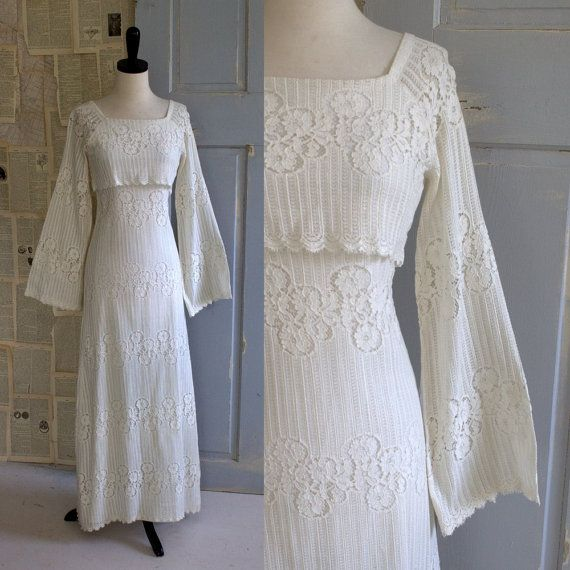 Wedding Dresses With Bell Sleeves: 70s Fitted Lace Hippie Wedding Dress With Bell Sleeves